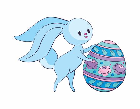 Cute Easter bunny with colored egg. Colorful vector illustration isolated on a white background. Standard-Bild - 139799926