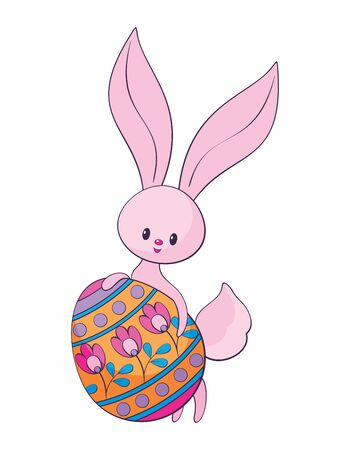 Cute Easter bunny with colored egg. Colorful vector illustration isolated on a white background. Standard-Bild - 139799782