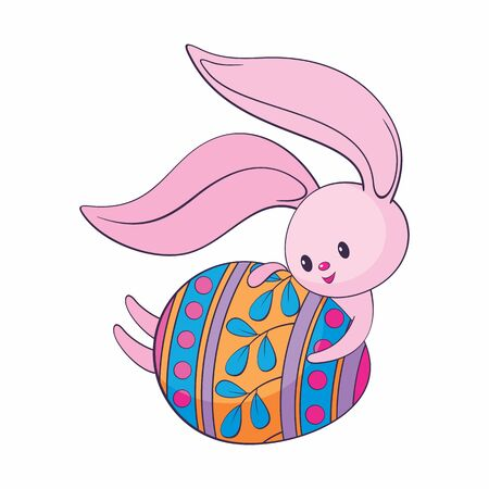 Cute Easter bunny with colored egg. Colorful vector illustration isolated on a white background. Standard-Bild - 139799759