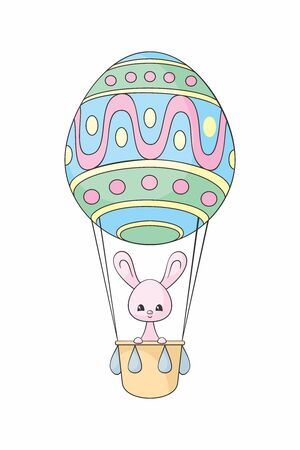 Easter design with cute bunny and aerostat. Colorful vector illustration isolated on a white background. Standard-Bild - 139900078