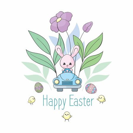 Easter design with cute bunny in the car. Colorful vector illustration isolated on a white background.