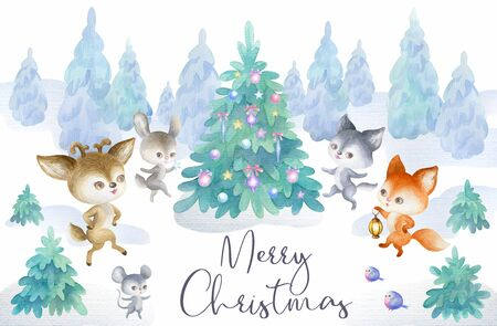 Christmas poster with cute woodland animals. Hand painted watercolor illustration isolated on a white background. Standard-Bild - 140433805