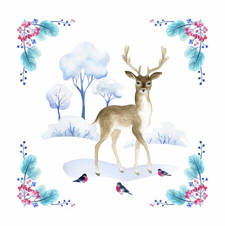 Beautiful deer. Hand painted watercolor illustration isolated on a white background. Stockfoto