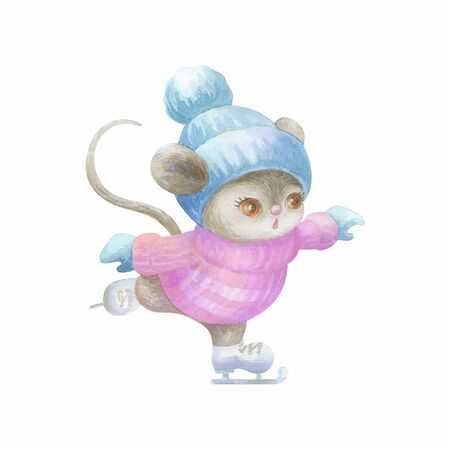 Little cute mouse ice skating.  Hand painted watercolor illustration isolated on a white background. Standard-Bild - 140444264