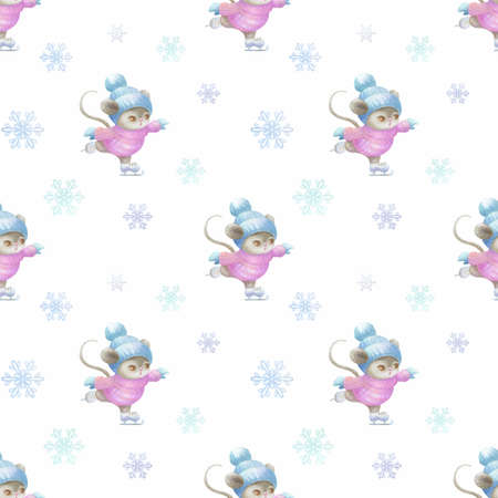 Little cute mouses ice skatings. Seamless pattern with Hand painted watercolor illustrations isolated on a white background.