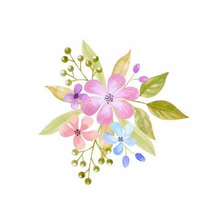 Floral arrangement with spring flowers. Watercolor hand painted illustration isolated on a white background. Standard-Bild - 140521791