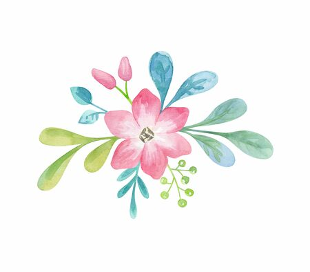 Floral arrangement with spring flowers. Watercolor hand painted illustration isolated on a white background. Standard-Bild - 140521956