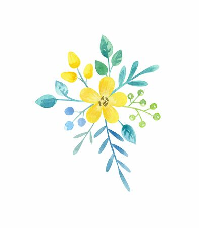 Floral arrangement with spring flowers. Watercolor hand painted illustration isolated on a white background. Standard-Bild - 140521782