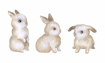 Cute Easter bunny with spring flowers. Watercolor hand painted illustration isolated on a white background. Standard-Bild - 140520264