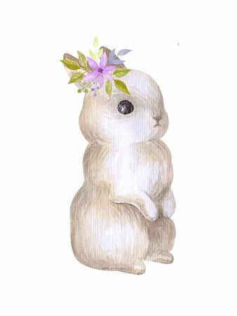 Cute Easter bunny with spring flowers. Watercolor hand painted illustration isolated on a white background. Stock fotó
