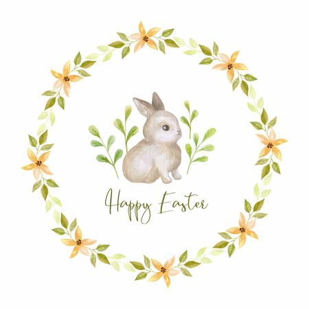 Cute Easter bunny with spring flowers. Watercolor hand painted illustration isolated on a white background. Standard-Bild - 140524279