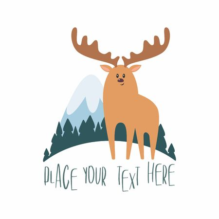 Woodland landscape with elk. Vector illustration isolated on a white background. Illusztráció