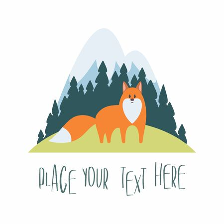 Woodland landscape with red fox. Vector illustration isolated on a white background.