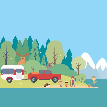 Camping life background. Woodland landscape. Colorful vector illustration.