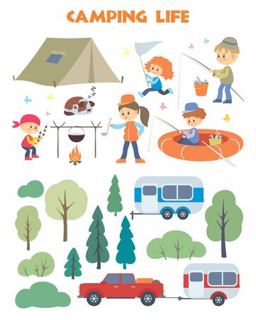 Camping life set. Trees, people, pickup and trailer. Vector illustrations isolated on a white background.