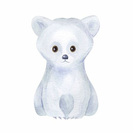 Cute polar bear. Hand painted watercolor illustration isolated on a white background.