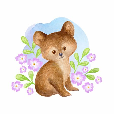 Cute bear. Hand painted watercolor illustration isolated on a white background.