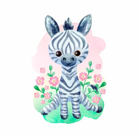 Cute zebra. Hand painted watercolor illustration isolated on a white background.