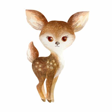 Cute deer. Hand painted watercolor illustration isolated on a white background.