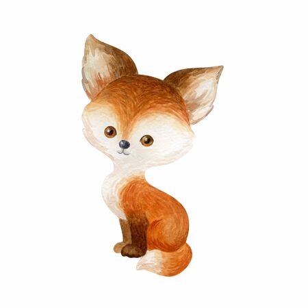 Cute fox. Hand painted watercolor illustration isolated on a white background.