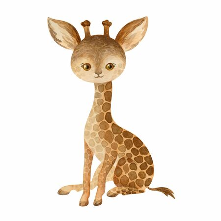 Cute giraffe. Hand painted watercolor illustration isolated on a white background.