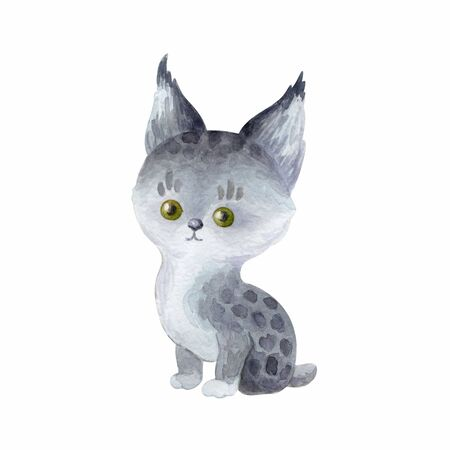 Cutelynx. Hand painted watercolor illustration isolated on a white background.