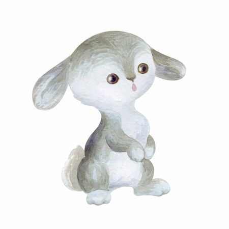 Cute bunny. Hand painted watercolor illustration isolated on a white background.