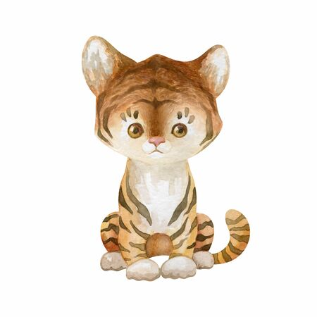 Cute tiger. Hand painted watercolor illustration isolated on a white background.