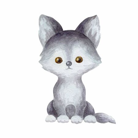 Cute wolfr. Hand painted watercolor illustration isolated on a white background.