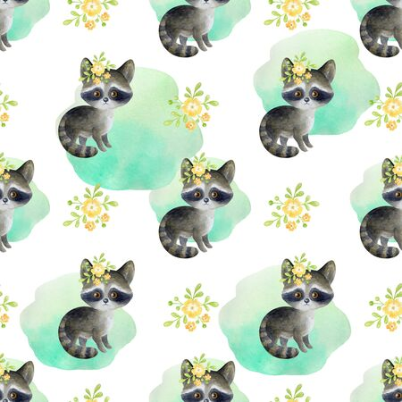 Seamless pattern with cute animals on a white background. Hand painted watercolor illustration. 写真素材