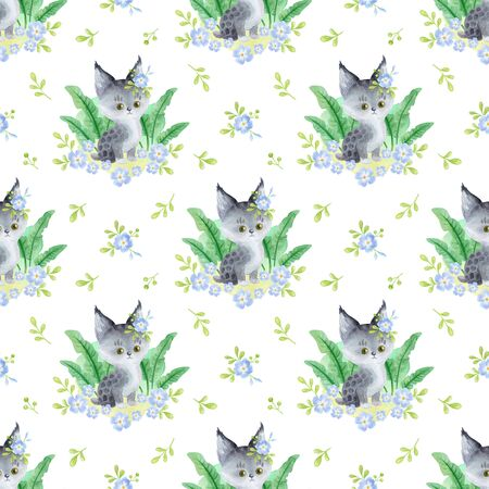 Seamless pattern with cute animals on a white background. Hand painted watercolor illustration. Stock fotó