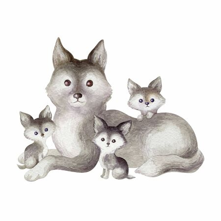 Cute wild animalss. Hand painted watercolor illustration isolated on a white background. Stock fotó