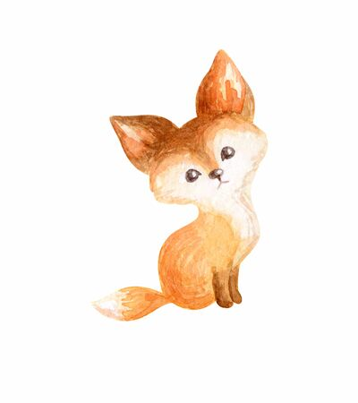 Cute fox. Hand painted watercolor illustration isolated on a white background. 写真素材