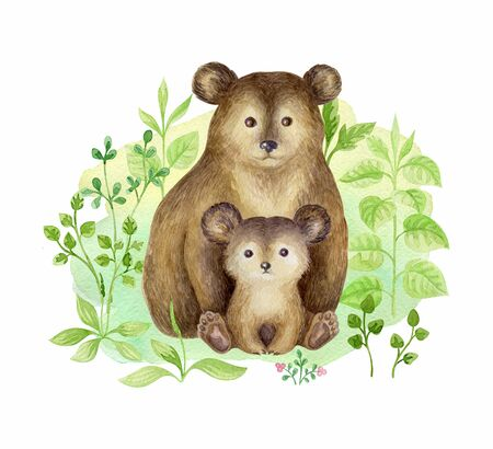 Cute bear and baby. Hand painted watercolor illustration isolated on a white background.