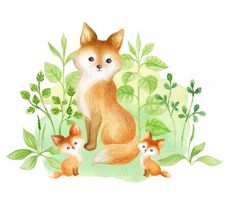 Cute fox and babies. Hand painted watercolor illustration isolated on a white background.