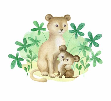 Cute wild animals. Hand painted watercolor illustration isolated on a white background.