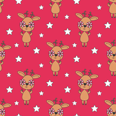 Christmas seamless pattern with cute deer. Colorful vector background