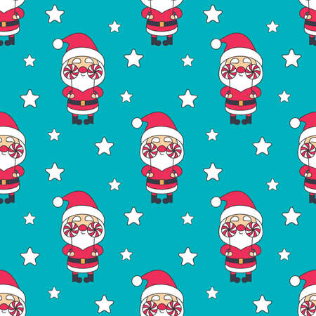 Christmas seamless pattern with Santa Clausr. Colorful vector background  イラスト・ベクター素材