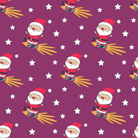 Christmas seamless pattern with Santa Claus. Colorful vector background
