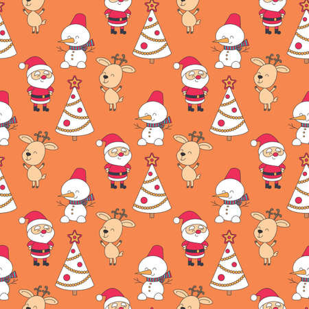 Christmas seamless pattern with Santa Claus and cute deer. Colorful vector background  イラスト・ベクター素材