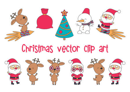 Funny Santa Claus and deer. Christmas set. Vector illustrations isolated on a white background.  イラスト・ベクター素材