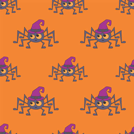 Halloween seamless patterns with cute characters. Colorful vector background