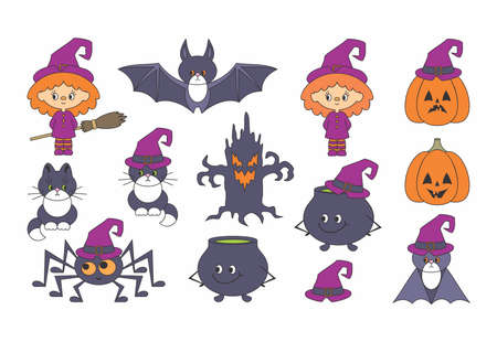 Halloween illustrations set with cute characters. Vector clip art isolated on a white background background