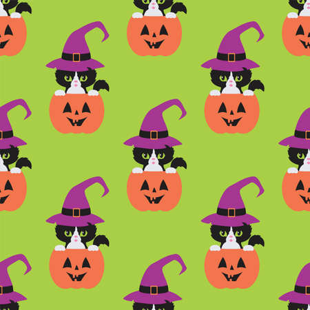 Halloween seamless patterns with black cats. Colorful vector background