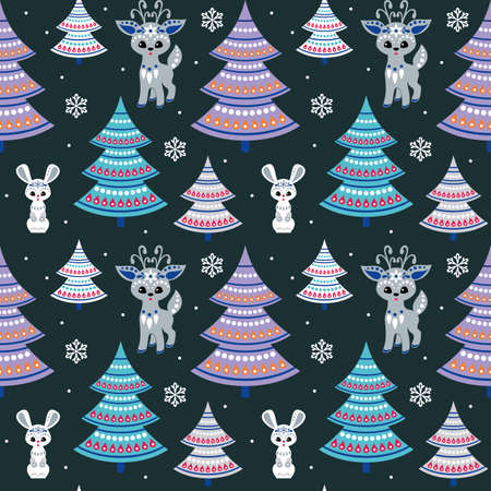Christmas seamless pattern with cute deer and bunny in ethnic style. Colorful vector background