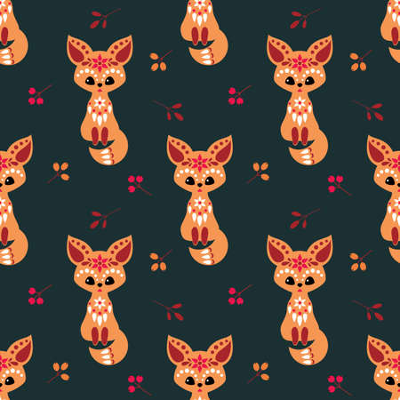 Christmas seamless pattern with cute fox in ethnic style. Colorful vector background