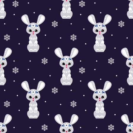 Christmas seamless pattern with cute bunny in ethnic style. Colorful vector background