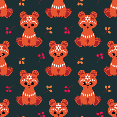 Christmas seamless pattern with cute bear in ethnic style. Colorful vector background
