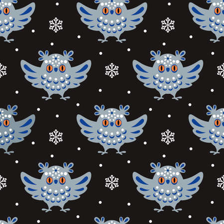Christmas seamless pattern with cute owl in ethnic style. Colorful vector background