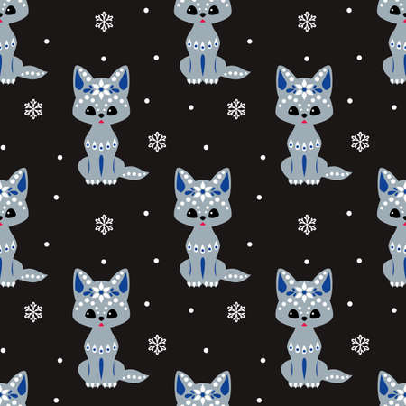 Christmas seamless pattern with cute wolf in ethnic style. Colorful vector background